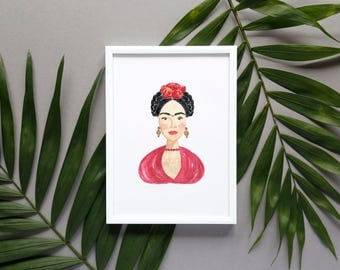 Frida Kahlo Digital Poster Print/ Frida Kahlo Watercolor Portrait Illustration/Clip Art /Art Print/ Card/ Printable DIY (Digital File JPEG)