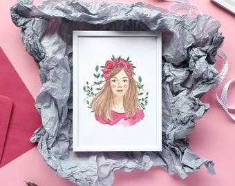 Flower Crown Girl Digital Print/ Fashion illustration Lady/ Greeting Card/ Wall Art Decor/ Poster / Printable DIY (Digital File JPEG)