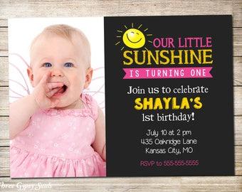 Sunshine Birthday Invitation Sunshine Invitation You Are My Sunshine Birthday Our Little Sunshine 1st Birthday Sun Invitation First Birthday