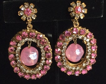 Enticing Vintage Miriam Haskell Dangle Earrings~Pink Rhinestones/Art Glass/Crystals/Gilt Filigree~Signed