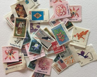 5 dollars face value US unused vintage postage stamps - no gum - destash lot