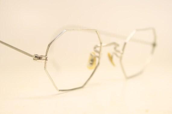 Vintage Silver Eyeglass Frames : Vintage Octagonal Silver Tone Eyeglasses