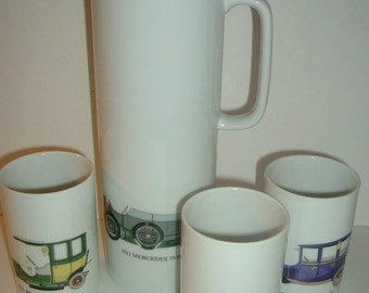 Vintage 4 pc Thomas Germany Automobile Bar Set Pitcher Glasses