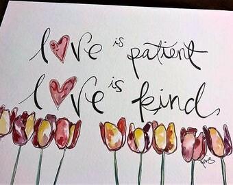 8x10 Love is Patient Watercolor