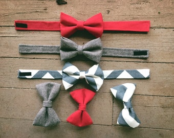Red, tweed, grey baby boy bow ties, baby boy bow tie, toddler bow tie, boy bow tie, infant bow tie, boy fashion, red bow tie, red bow