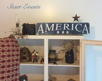 America sign. July 4th decorations Americana decor. Rustic wooden signs. Distressed signs. Fourth of July signs Patriotic decor Rustic decor