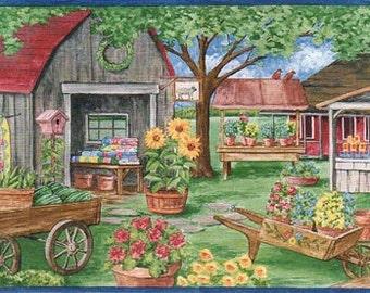 Farm Market Laundry Line AFR7130 Wallpaper Border