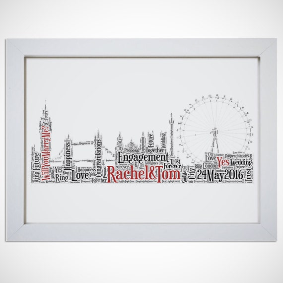 Personalised London Skyline Destination Engagement Framed Word Art ...