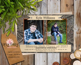 Rustic Guys, Graduation Announcement Party Invitation with Pictures, Cammo, High School or College Photos Fully Customized, You Print
