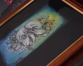 Framed Original Conjoined Twins Watercolour Illustration