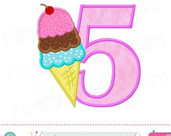Ice cream cone Number 5 applique,My 5th Birthday,5,Ice cream cone,Number 5,Ice cream applique,5,Babies applique,Summer applique.