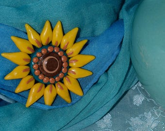 Hand Sculpted Rosemaling Sunflower Pin