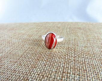 Red Flower Jasper Sterling Ring   (Size 8 )