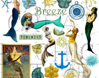 Altered Art supply   Mermaid Clipart   Digital Collage Sheet  Beach clipart  nautical clipart  vintage mermaid image  ocean print