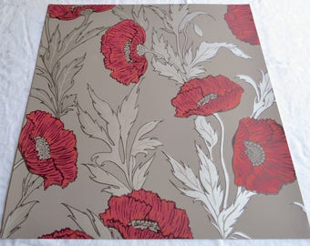 Wallpaper - Cole and Son  Sample Sheet  - 19 x 17  Red Poppy on Grey Taupe