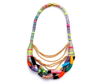 Colorful Statement Necklace, Braided Textile Necklace, Beaded Rope Necklace, Unique Necklace, Statement Jewelry, Summer Necklace