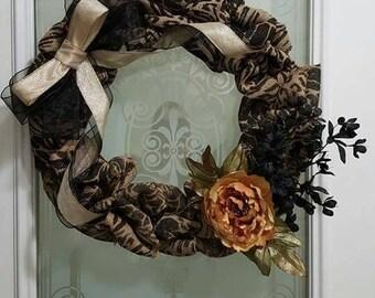 """Animal Print Burlap 18"""" Wreath"""