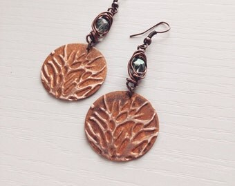 Embossed copper tree faceted wire wrapped earrings