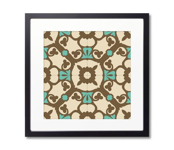Tile Design Print With Framed, Barcelona Tiles, Wall Art, Geometric Art. 20 Different designs to choose from