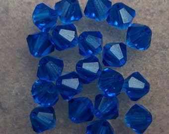 Swarovski 4mm Bicone Faceted Crystal Beads - CAPRI BLUE x 20 Beads
