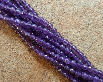 "Natural Grade A Amethyst 3mm Faceted Round Beads - 16"" Strand"