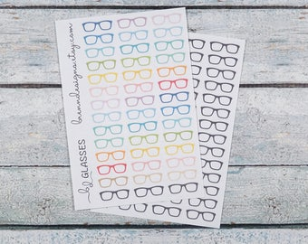 Glasses Stickers, Eyewear Icons, Work and Meetings, School and Homework, Paperwork Reminders, Icon Planner Stickers
