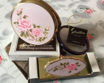 1970s Stratton compact mirror, vintage powder compact, 1980s Stratton lipview, pink roses G Breeze, Stratton gift for her, lipstick holder