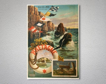 Bretagne, France  Vintage Travel Poster, Poster, Sticker or Canvas Print / Gift Idea