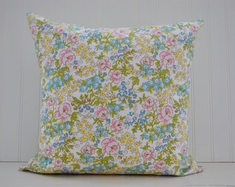 Spring Pillow Cover | Floral Print Pillow Cover | Pink and Green Pillow | Girls Nursery Decor | 18 x 18 Pillow Cover | Zipper Closure