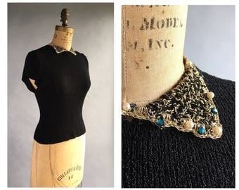 1950's Short Sleeve Sweater with Beaded Collar