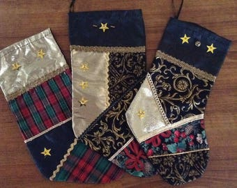 Christmas stocking. Set pf three christmas stockings, christmas, gifts,