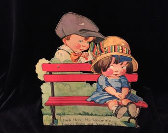 Vintage Chubby Cheek Kids,Mechanical Valentine Card, Girl on Park Bench, Boy Delivering Valentine, Large 7 x 9 inches, Circa 1920s