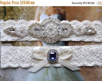 ON SALE Wedding Garter, Bridal Garter, Blue Sapphire Garter Set,  Rhinestone  Garter, Ivory Lace Wedding Garter, Garter Pearls, Something Bl
