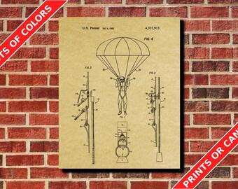 Skydiving Parachute Poster Parachute Patent Print Parachute Blueprint Extreme Sport Art Tech Decor