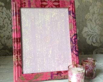 Decoupaged ethnic design pink frame | photo frame | picture frame