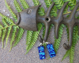 Tropical Ocean Blue Dichroic Glass Dangle Earrings
