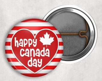 """Canada Day, July 1st Badges, 150 Canada's Day, Lock-Back, Pin Back, Lapel Buttons, 1.25"""" - BN1005"""