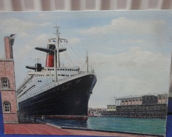 Vintage Cruise Ship France  Painting on Board/ Signed John F. Leonard