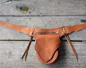 leather fanny pack, bum bag, hip bag, belt bag, utility belt bag, biker, native, unique, ethnic wear, tan, black, brown, handmade