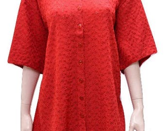Plus size round neck cut work button down short sleeved tunic Red 16 18 20 22 24