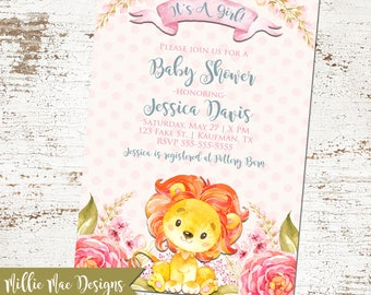 Watercolor Lion Baby Shower