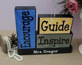 Unique Gift for Teachers, Christmas Gift, Personalized Teacher Gift, Teacher Appreciation Gift, Graduation Present, Teacher Wood Blocks
