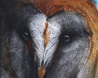 Original Watercolor Painting Barn Owl animal artist 10 1/2x9
