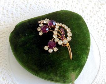 Beautiful Vintage Austrian Crystal Brooch Austrian Jewellery Purple