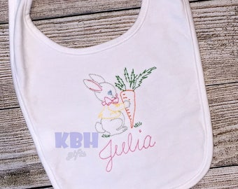 Embroidered Vintage Bunny Bib, Shirt, or Bodysuit