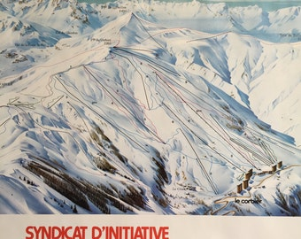French Travel Poster. Ski Resort Slopes Le Corbier Alps Original by Pierre Novat 1976. Savoy Tourist Office. Belledone. Maurienne. France