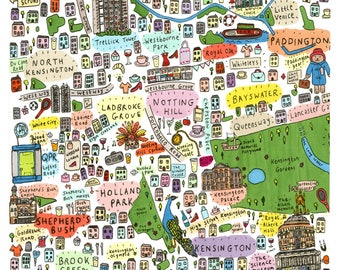 illustrated map of West London print