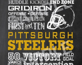 Pittsburgh Steelers Football Word Art 5x7 Print / Sign - Typography Art Print