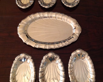 Vintage Neptune Pattern Silver Plate  IS 1847 Rogers Bros Tray and 6 Serving Dishes