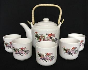 Tea Set Asian Teapot and Five Cups